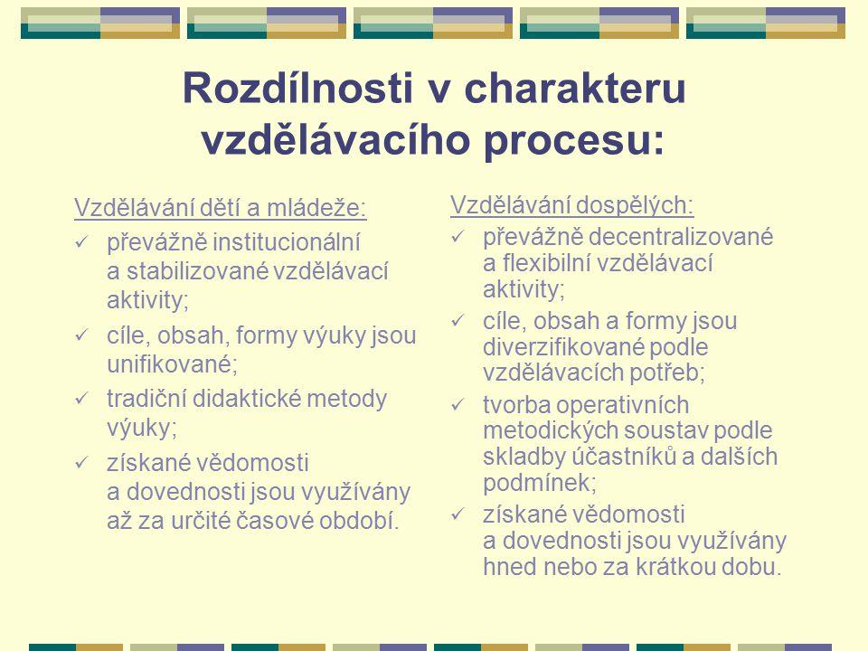 Rozdílnosti v charakteru vzdělávacího procesu: