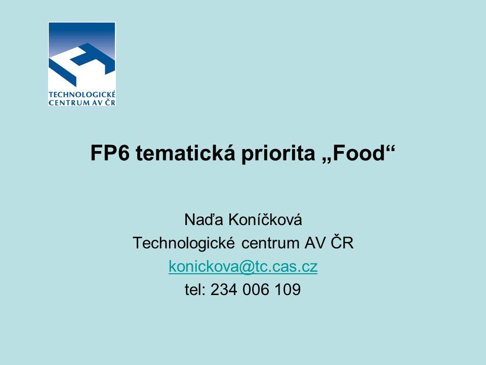 """FP6 tematická priorita """"Food"""