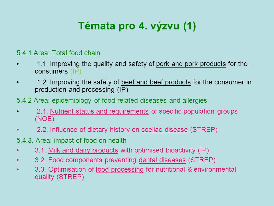 Témata pro 4. výzvu (1) 5.4.1 Area: Total food chain