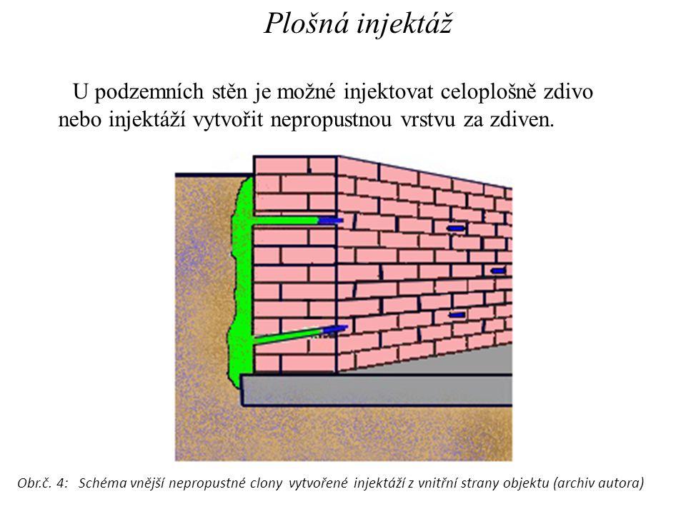 Plošná injektáž U podzemních stěn je možné injektovat celoplošně zdivo nebo injektáží vytvořit nepropustnou vrstvu za zdiven.