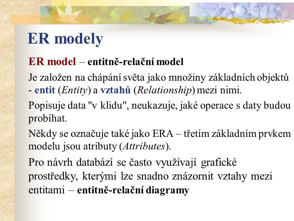 ER modely ER model – entitně-relační model