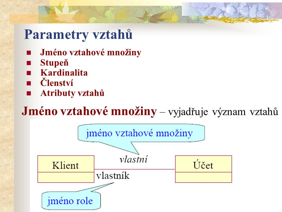 Parametry vztahů Jméno vztahové množiny – vyjadřuje význam vztahů