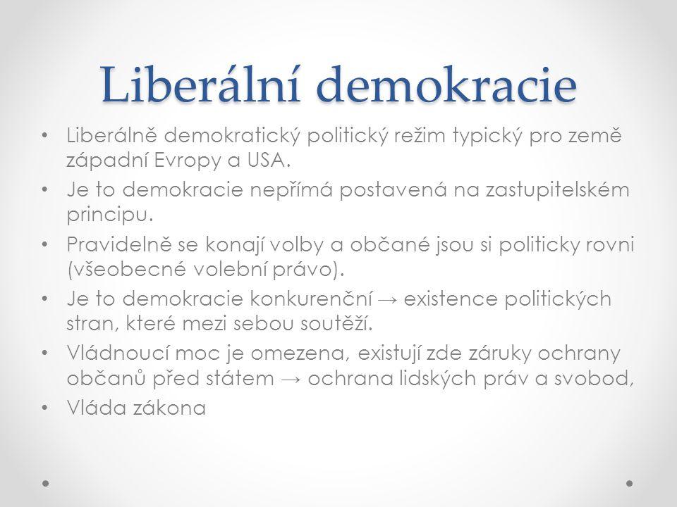 Liberální demokracie Liberálně demokratický politický režim typický pro země západní Evropy a USA.