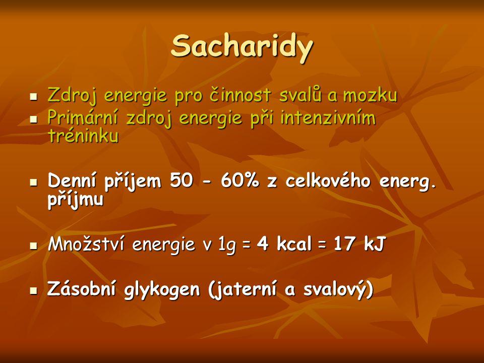 Sacharidy Zdroj energie pro činnost svalů a mozku