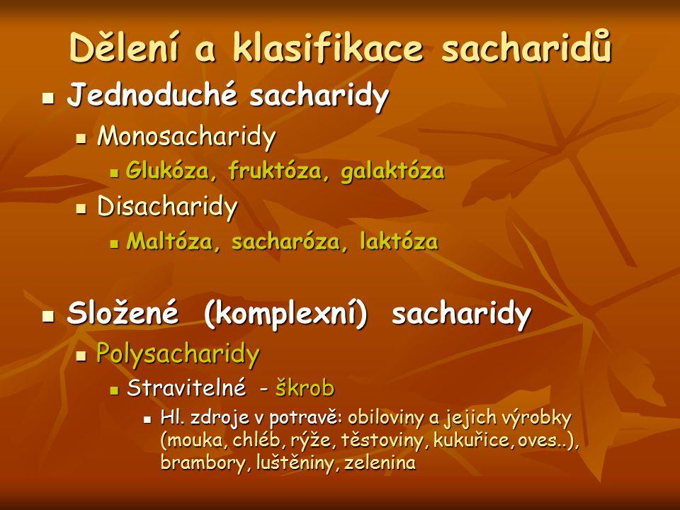 Dělení a klasifikace sacharidů
