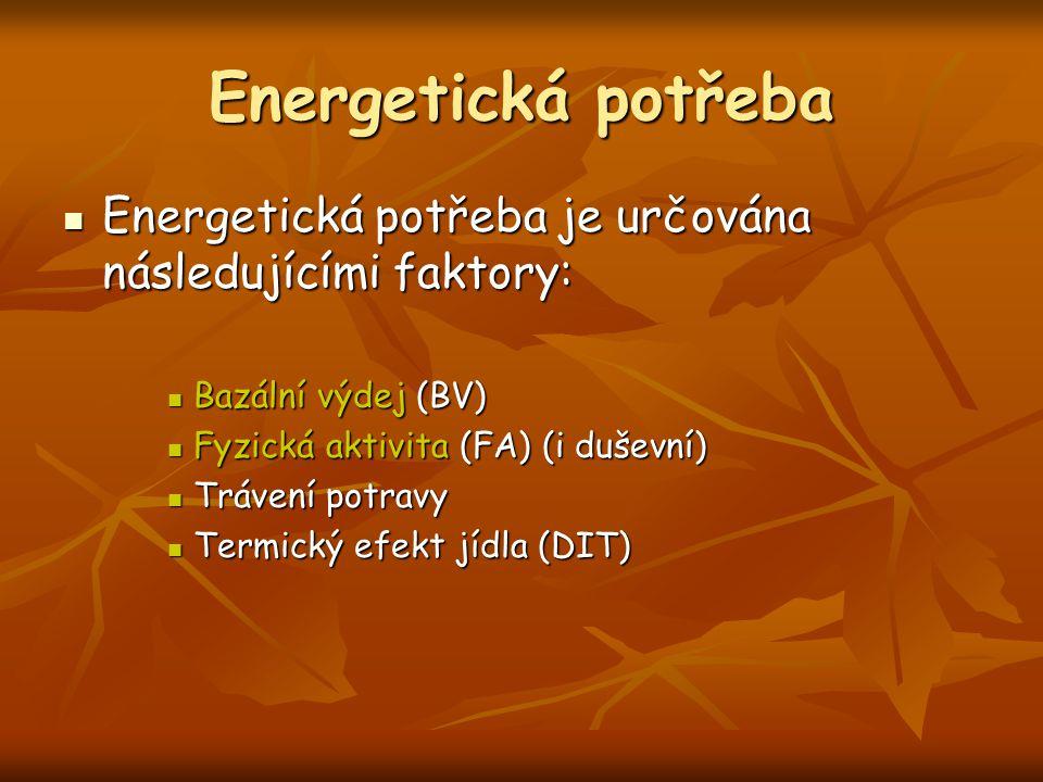 Energetická potřeba Energetická potřeba je určována následujícími faktory: Bazální výdej (BV) Fyzická aktivita (FA) (i duševní)