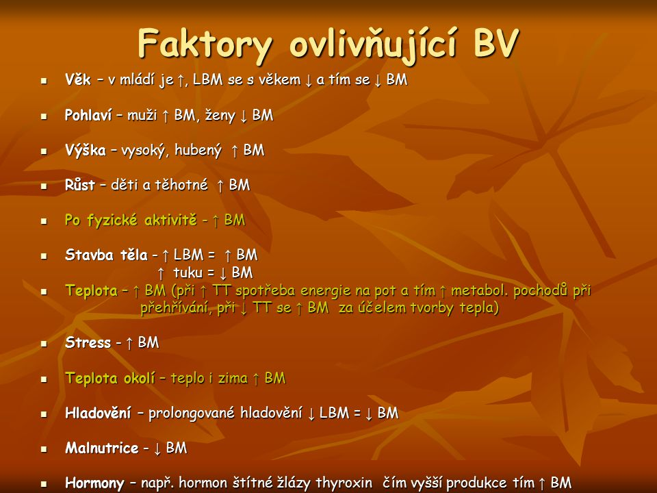 Faktory ovlivňující BV