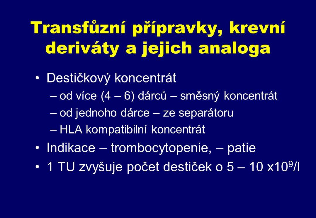 Transfůzní přípravky, krevní deriváty a jejich analoga