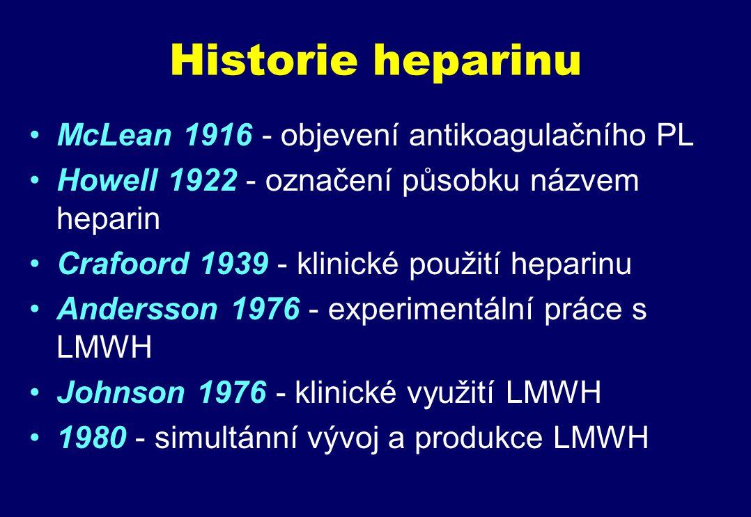 Historie heparinu McLean 1916 - objevení antikoagulačního PL