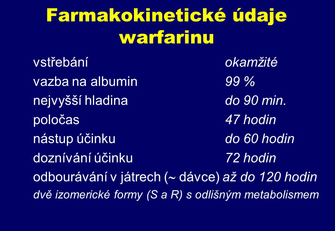 Farmakokinetické údaje warfarinu