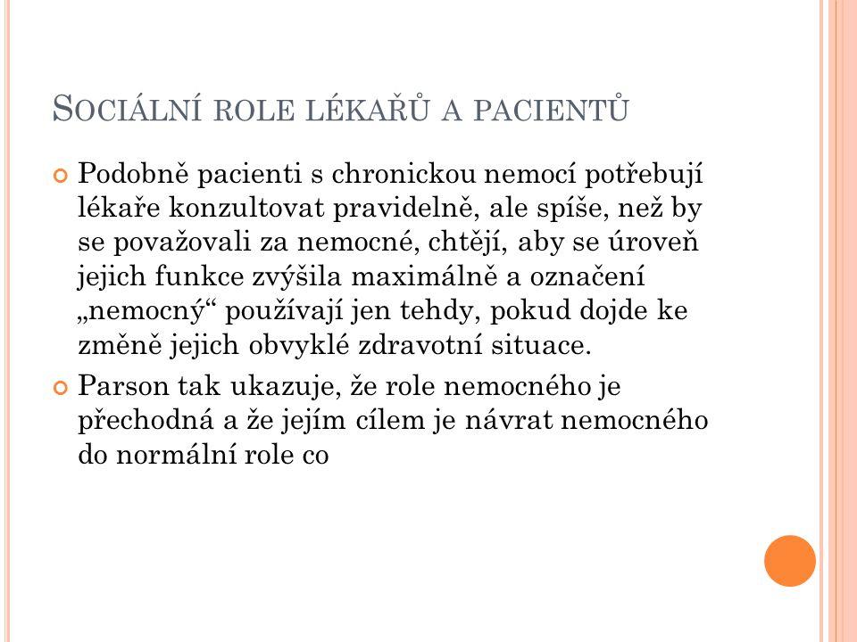 Sociální role lékařů a pacientů