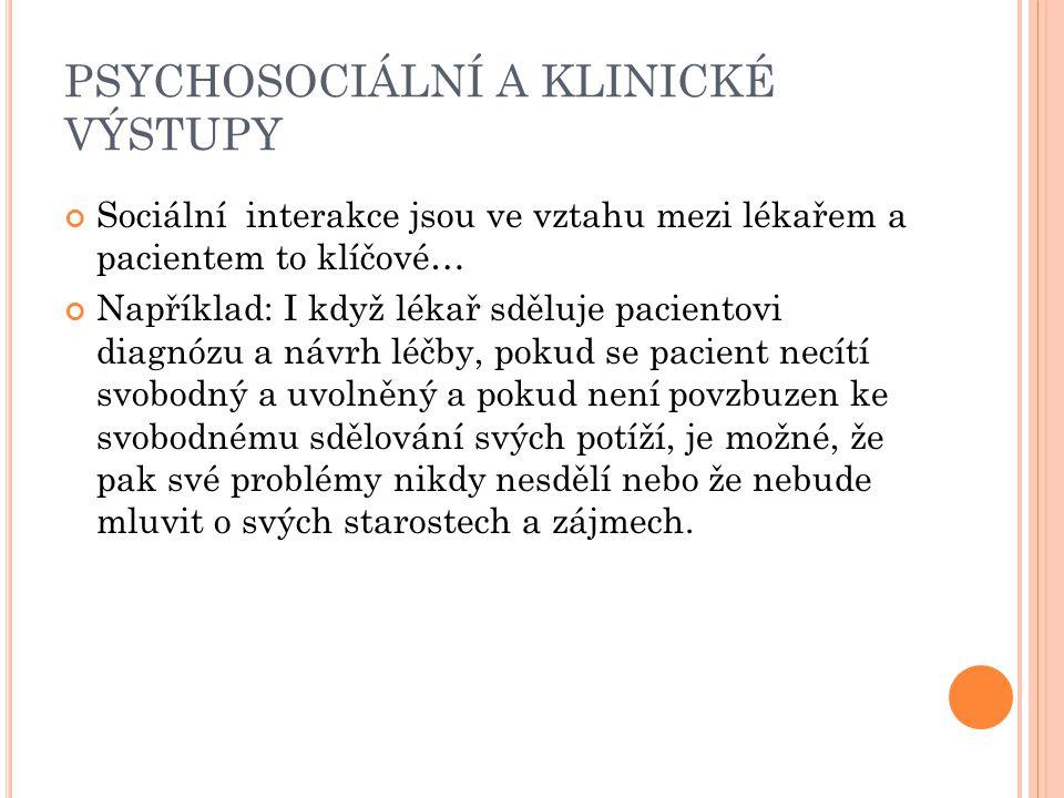 PSYCHOSOCIÁLNÍ A KLINICKÉ VÝSTUPY