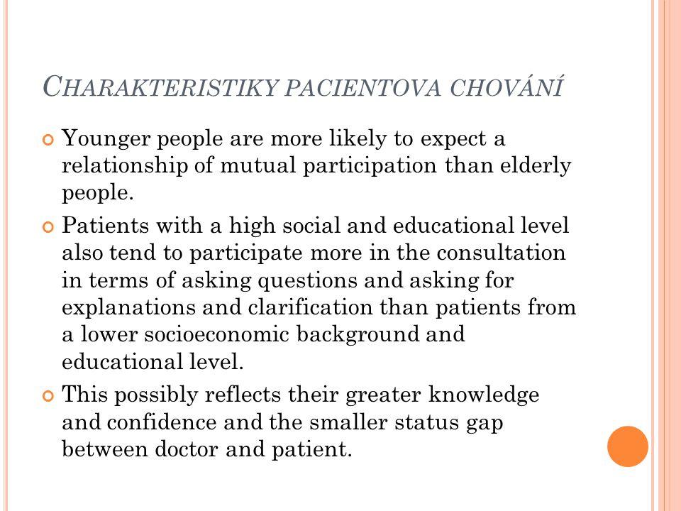 Charakteristiky pacientova chování