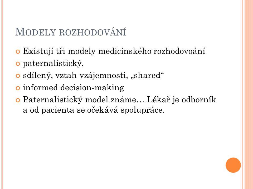 Modely rozhodování Existují tři modely medicínského rozhodovoání