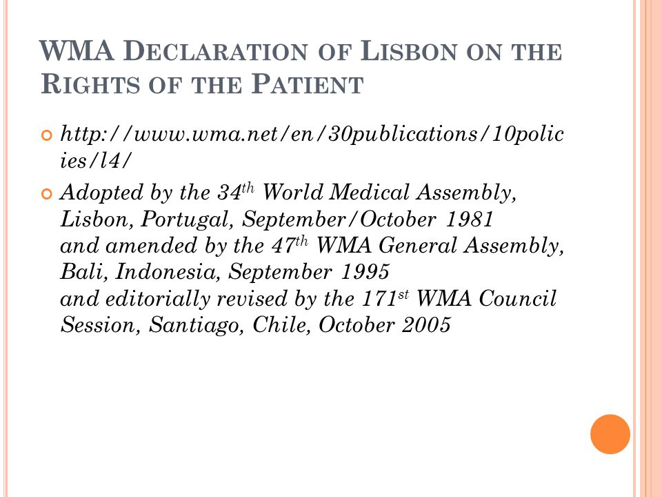 WMA Declaration of Lisbon on the Rights of the Patient