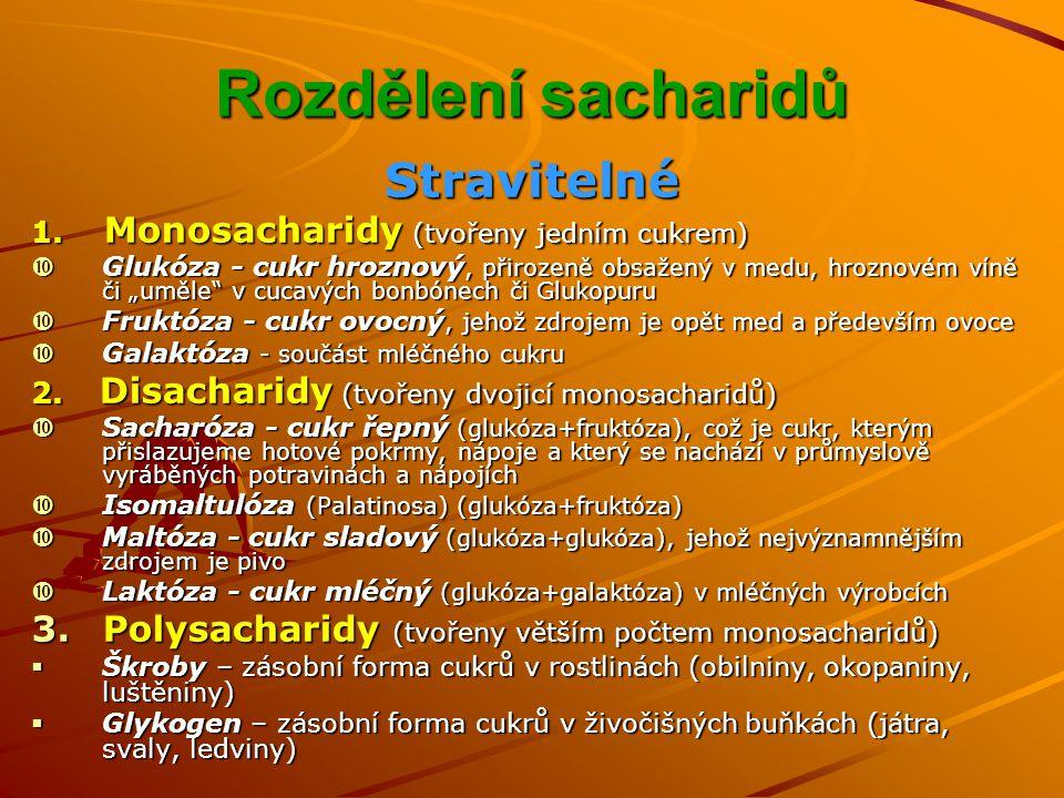 Rozdělení sacharidů Stravitelné
