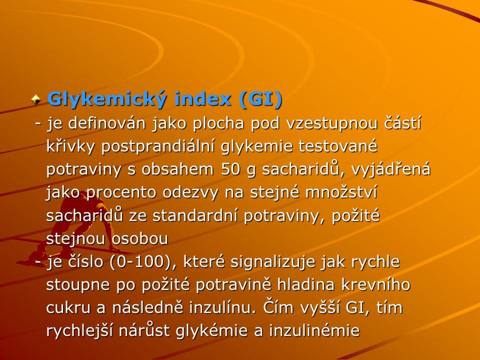 Glykemický index (GI) - je definován jako plocha pod vzestupnou částí