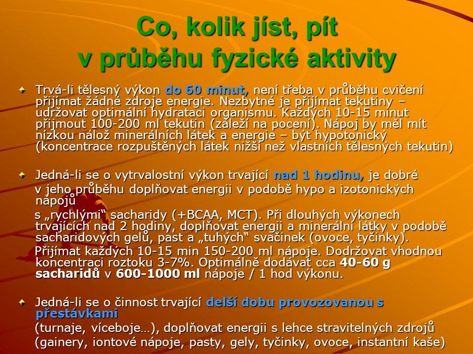 Co, kolik jíst, pít v průběhu fyzické aktivity