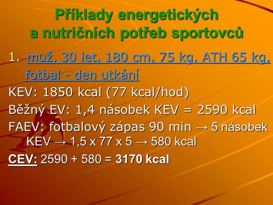 Příklady energetických a nutričních potřeb sportovců