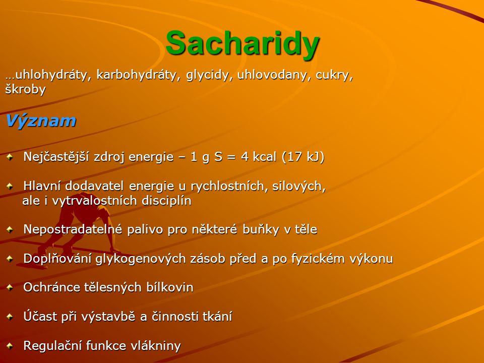 Sacharidy …uhlohydráty, karbohydráty, glycidy, uhlovodany, cukry, škroby. Význam. Nejčastější zdroj energie – 1 g S = 4 kcal (17 kJ)