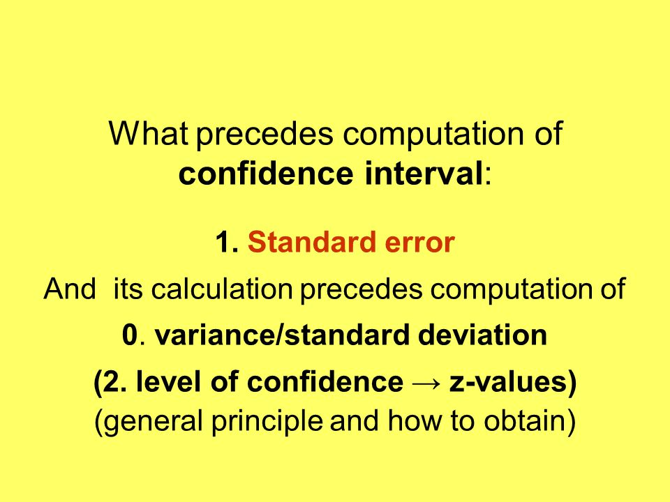What precedes computation of confidence interval: