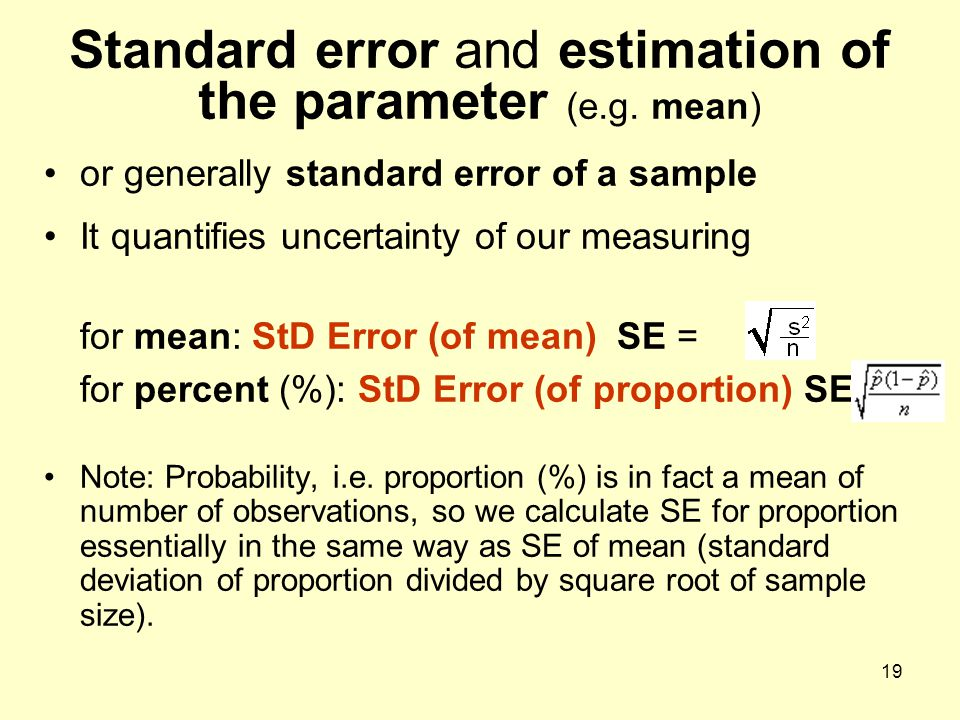 Standard error and estimation of the parameter (e.g. mean)