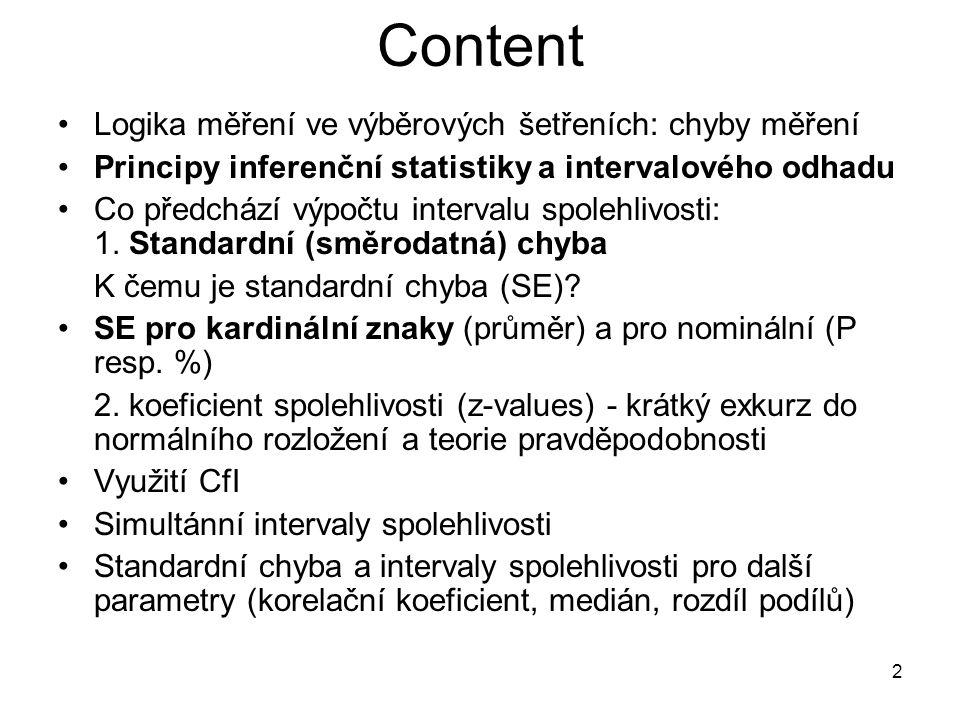 Content Logika měření ve výběrových šetřeních: chyby měření