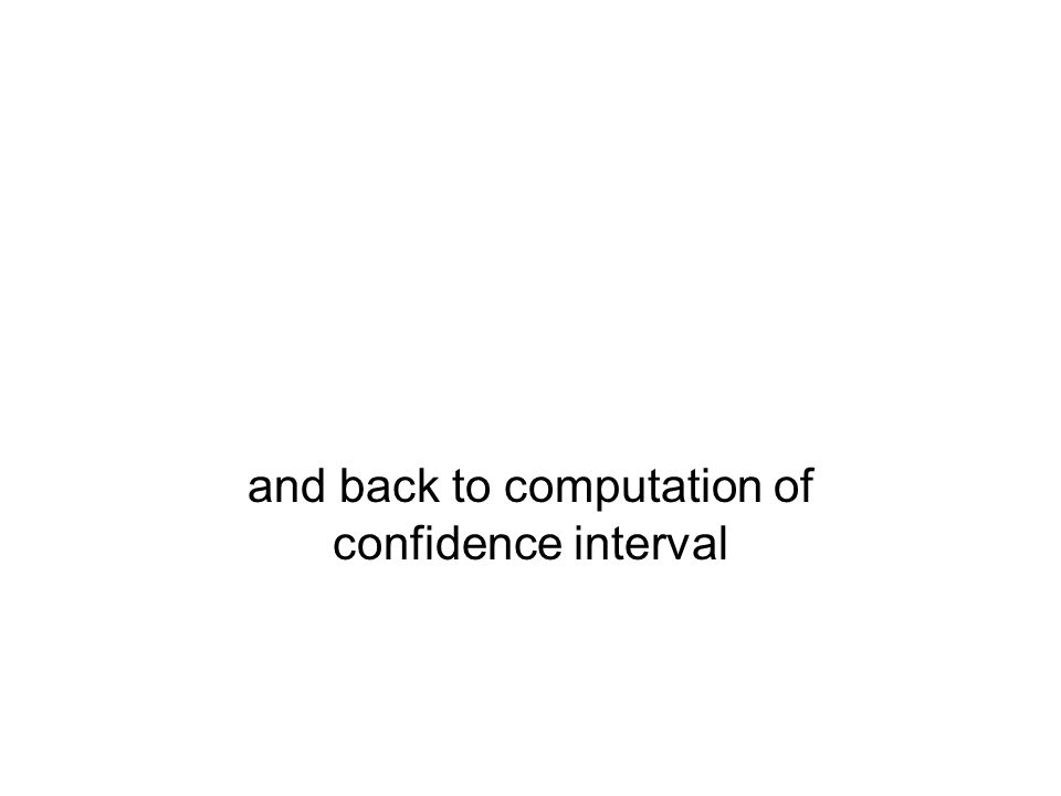 and back to computation of confidence interval