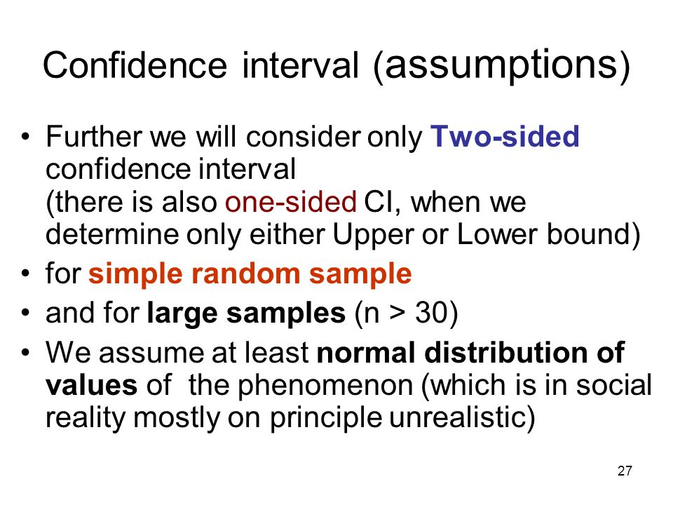 Confidence interval (assumptions)