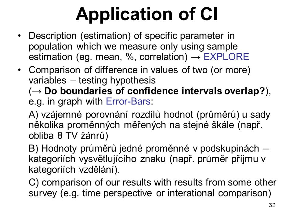 Application of CI