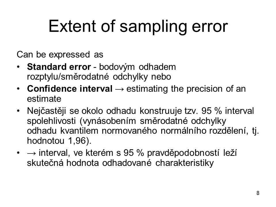 Extent of sampling error