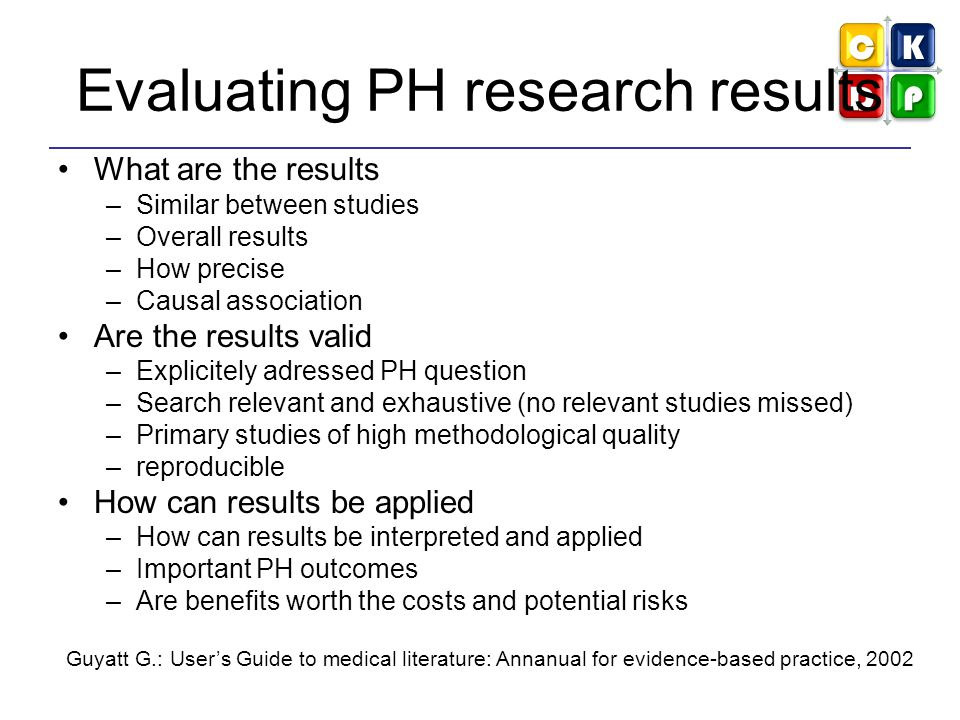 Evaluating PH research results