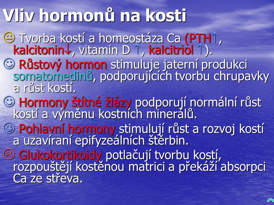 Vliv hormonů na kosti Tvorba kostí a homeostáza Ca (PTH, kalcitonin, vitamin D , kalcitriol ).