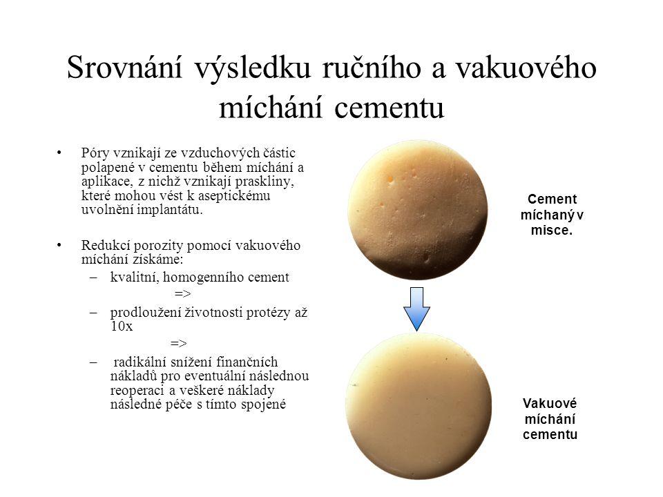 Srovnání výsledku ručního a vakuového míchání cementu