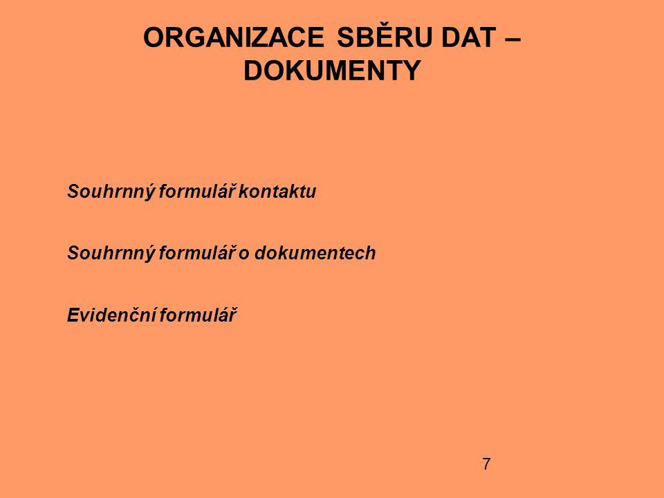 ORGANIZACE SBĚRU DAT – DOKUMENTY