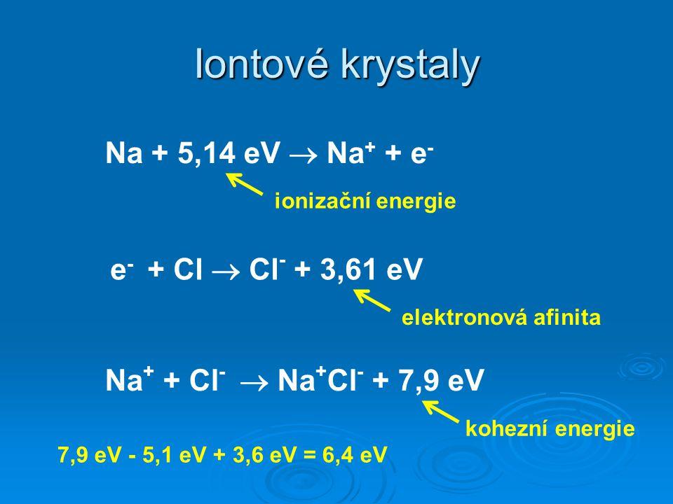 Iontové krystaly Na + 5,14 eV  Na+ + e- e- + Cl  Cl- + 3,61 eV