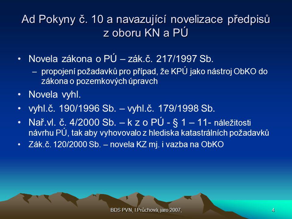 Ad Pokyny č. 10 a navazující novelizace předpisů z oboru KN a PÚ