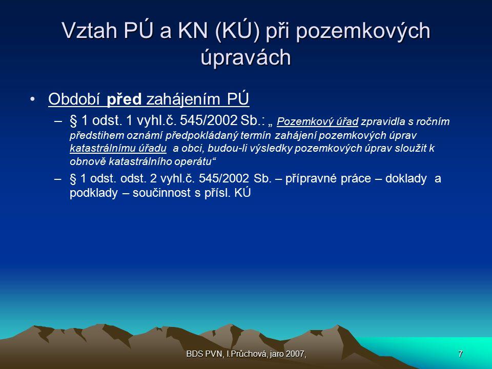 Vztah PÚ a KN (KÚ) při pozemkových úpravách