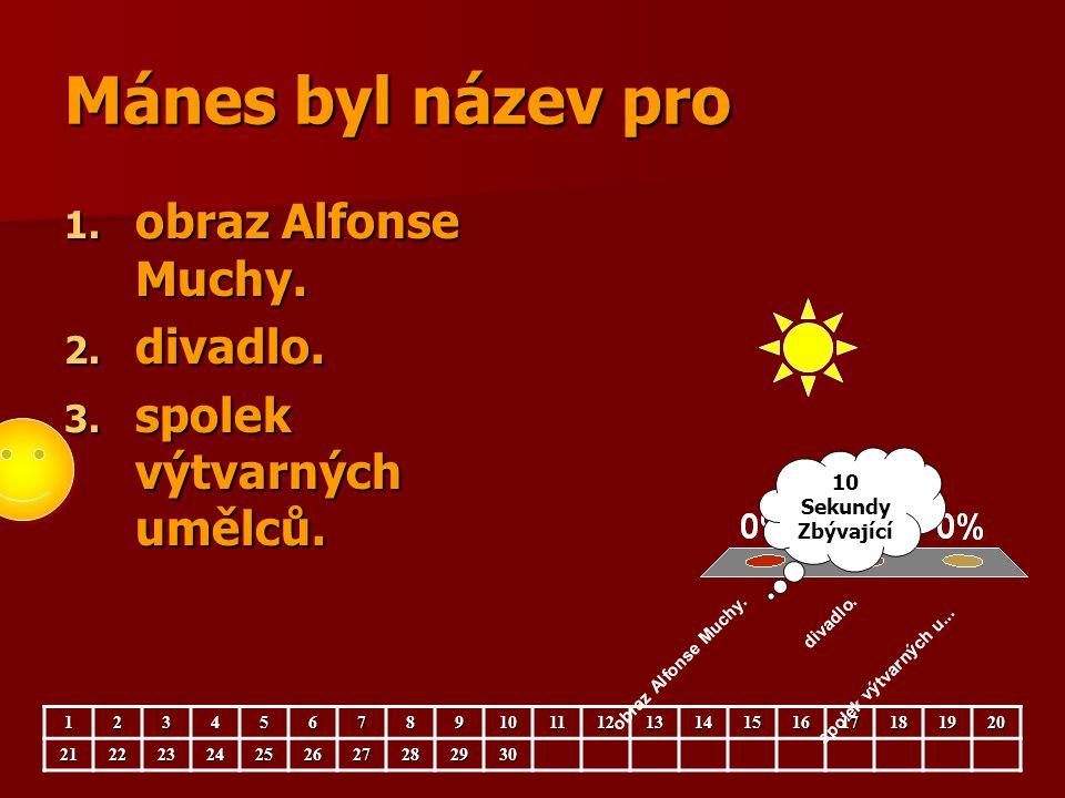 Mánes byl název pro obraz Alfonse Muchy. divadlo.