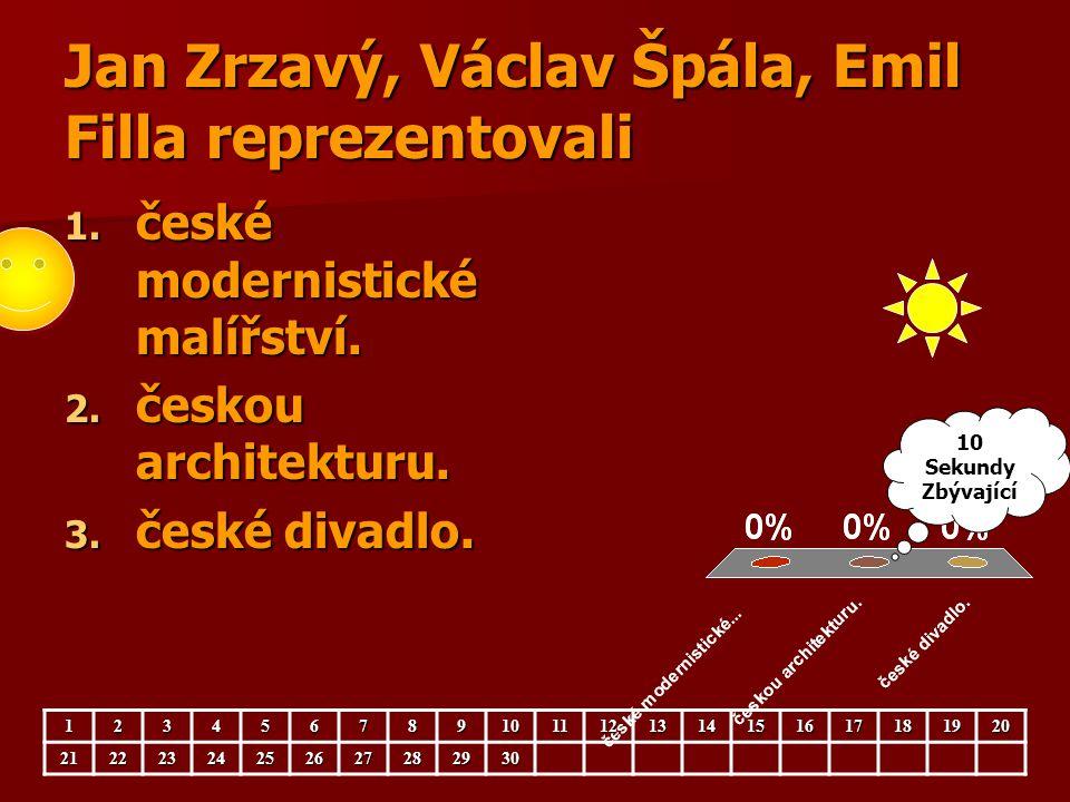 Jan Zrzavý, Václav Špála, Emil Filla reprezentovali