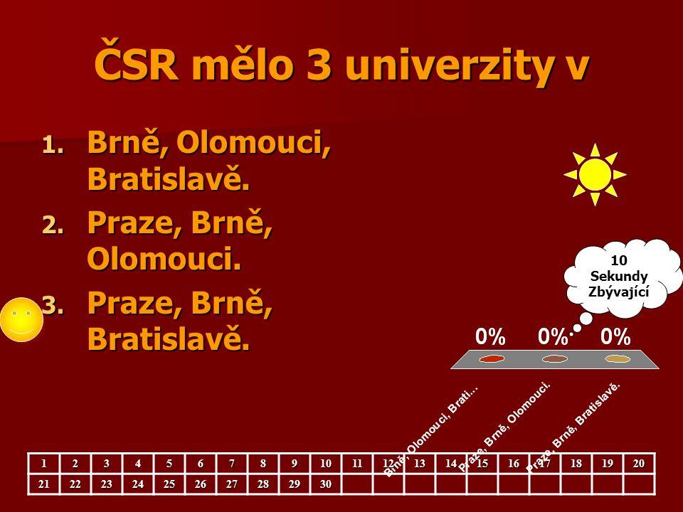 ČSR mělo 3 univerzity v Brně, Olomouci, Bratislavě.