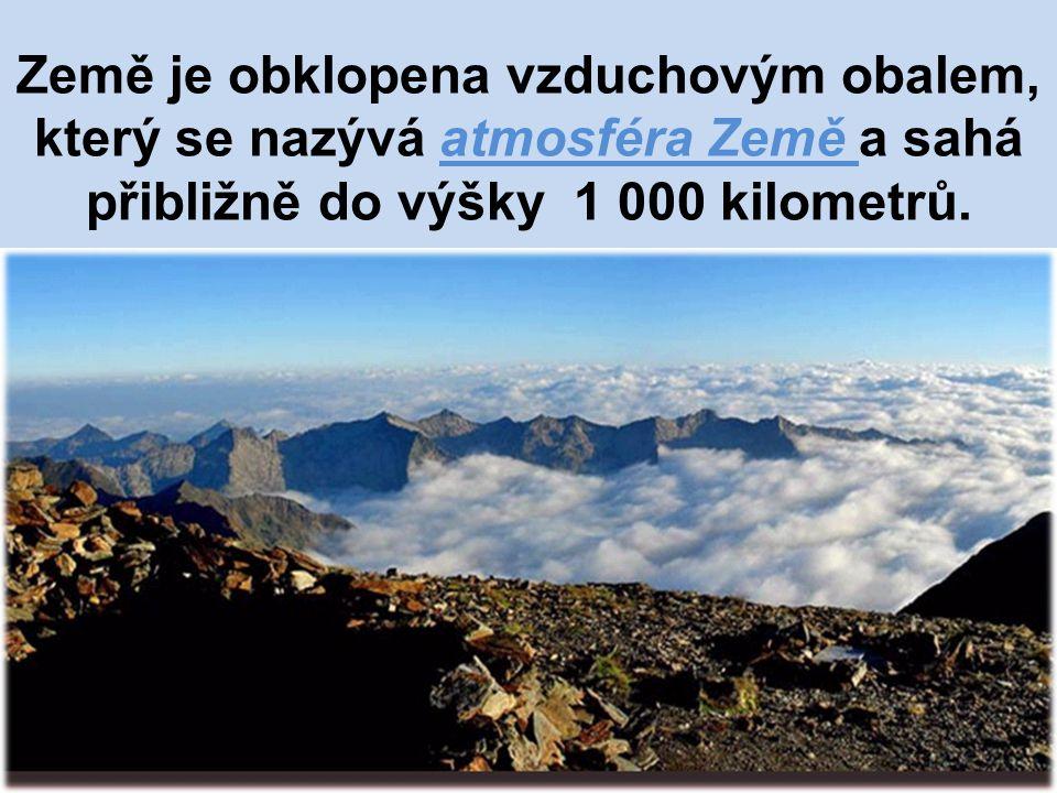 Země je obklopena vzduchovým obalem, který se nazývá atmosféra Země a sahá přibližně do výšky 1 000 kilometrů.