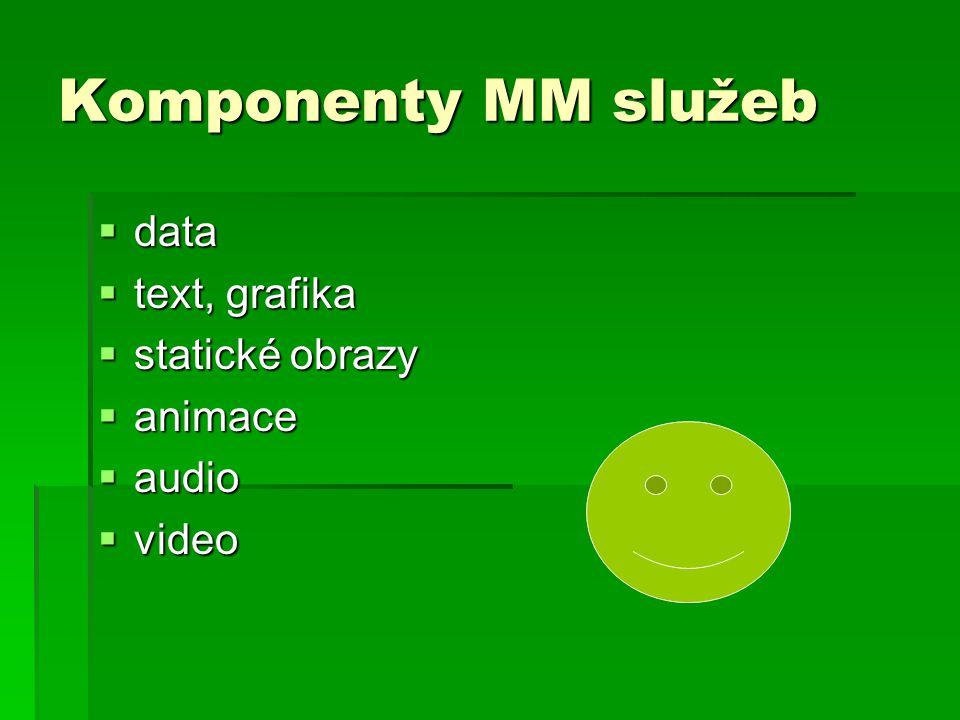 Komponenty MM služeb data text, grafika statické obrazy animace audio