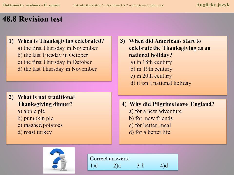 48.8 Revision test When is Thanksgiving celebrated