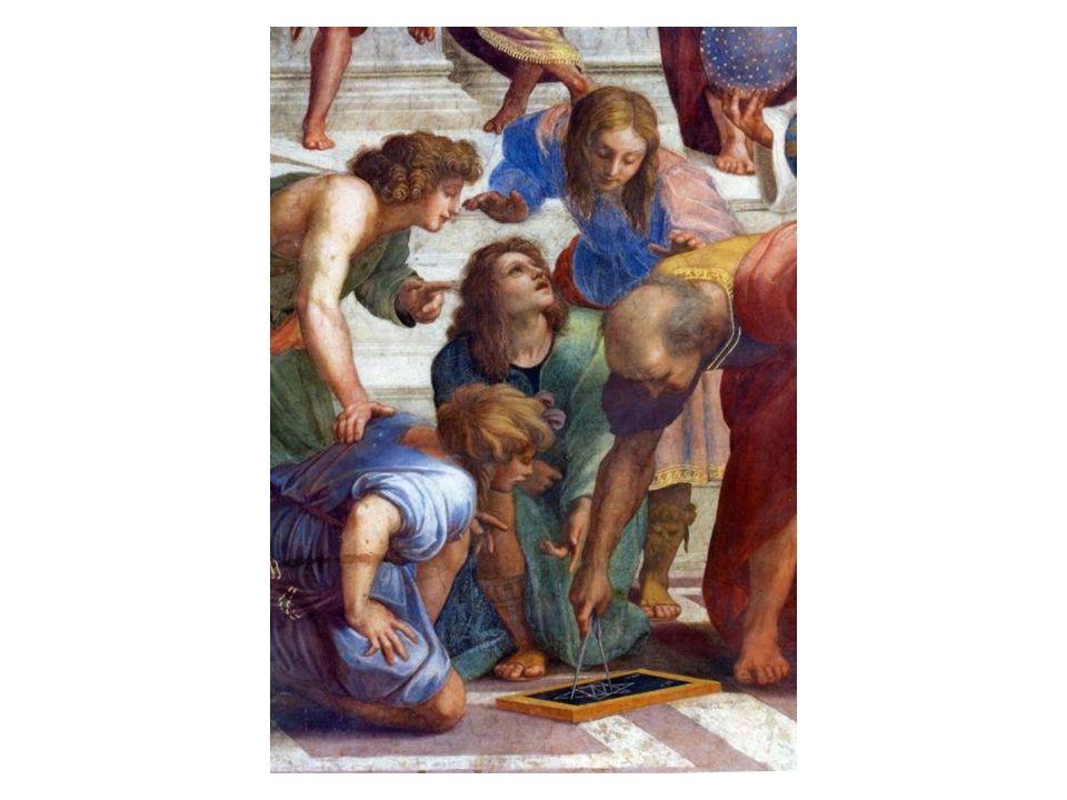 Eukleidés: řecký matematik, zde má podobu renesančního architekta Bramanta
