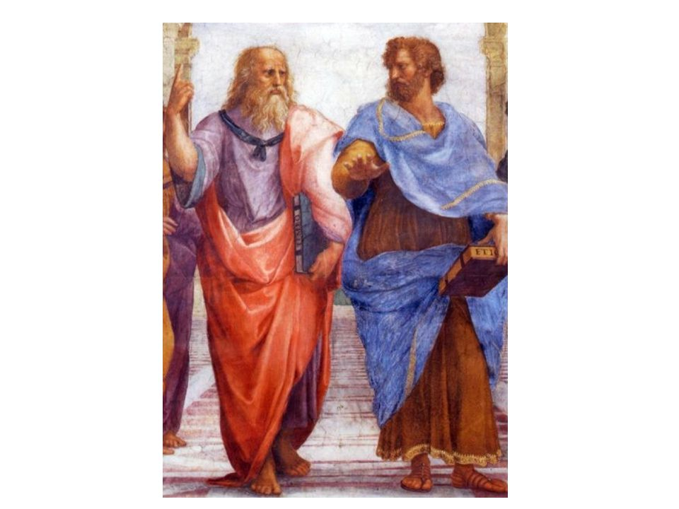 Platón a Aristoteles: idealistická a materialistická filosofie;