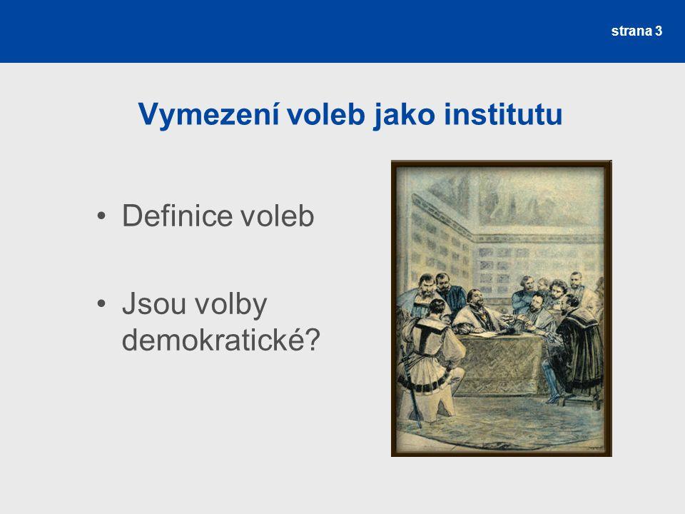 Vymezení voleb jako institutu