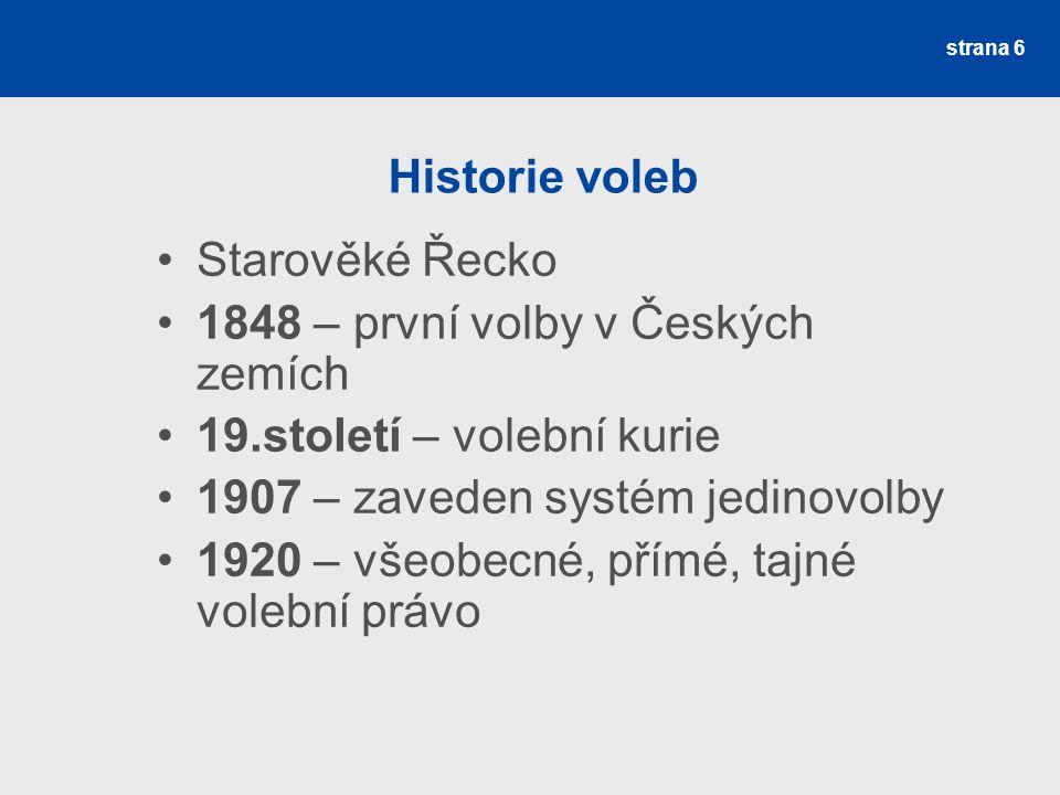 1848 – první volby v Českých zemích 19.století – volební kurie