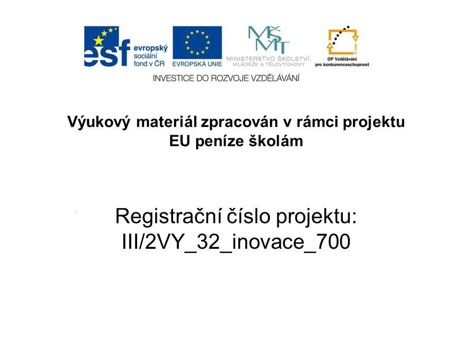 Registrační číslo projektu: III/2VY_32_inovace_700