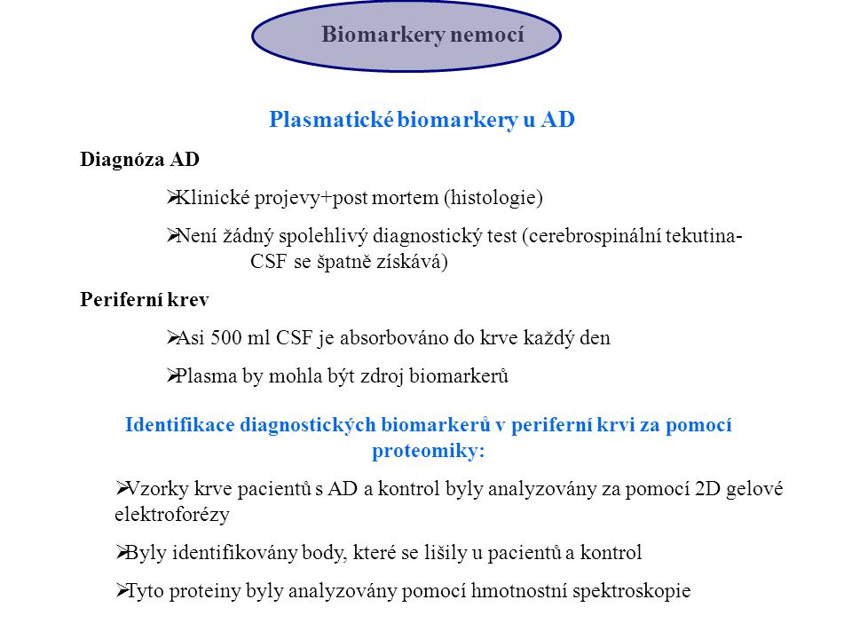 Plasmatické biomarkery u AD